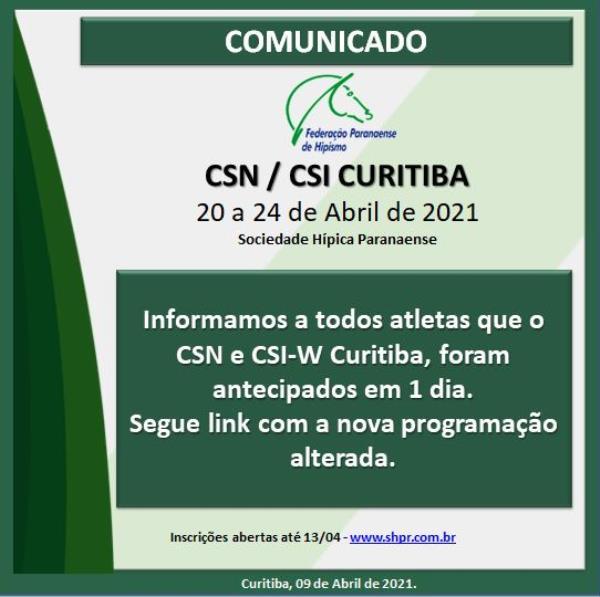 CSN Curitiba e CSI-W - Autorizados e antecipados