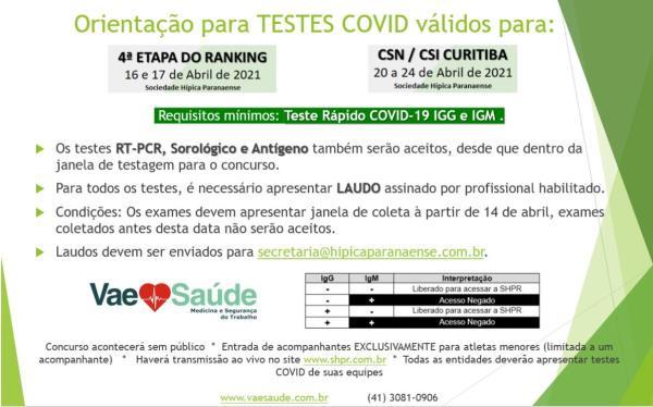 Obrigatório teste de COVID para 4ª ETAPA - CSN /